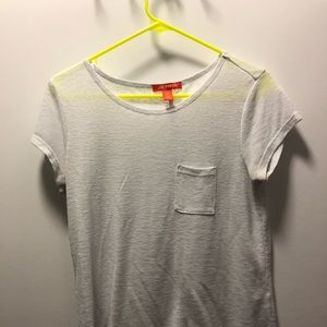 Plain white tee with front pocket